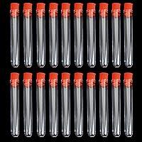 Switty 20 tubos de ensayo de plástico no graduados con tapón de rosca de color al azar (12 x 75 mm)