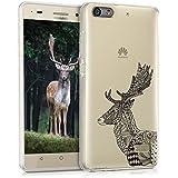 kwmobile Funda para Huawei G Play Mini - Case para móvil en TPU silicona - Cover trasero Diseño ciervo zentangle en negro blanco