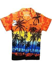 SAITARK Camisa Hawaiana para Hombre, Diseño de Palmeras, para la Playa, Fiestas,