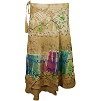 Mogul Interior Wrap Skirts Tie-Dye Embroidered Beach Cover Up Boho Long Skirts