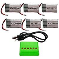 YUNIQUE DEUTSCHLAND ® 3.7V 680mAh Batterien (6PCS) mit 6 in 1 X6 USB-Ladegerät (1PC) für Syma X5 X5C X5A X5C-1 X5SW X5SC RC Quadcopter