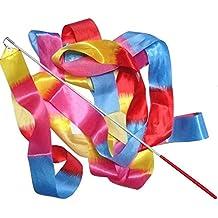 BEETEST 4m La mancha girando a gimnasio de danza arte cinta gimnasia rítmica Streamer con varita de palo Colorido