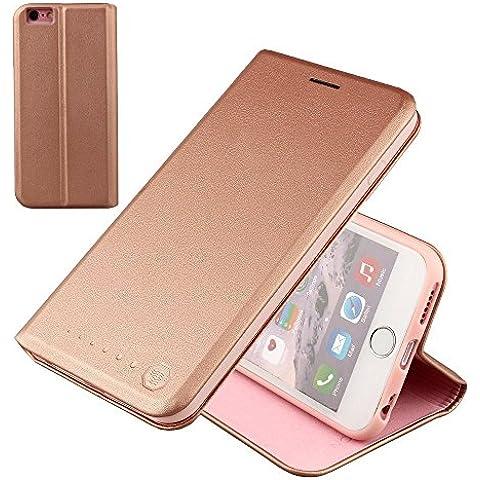 Nouske iPhone 6/6s Funda protectora de tipo Cartera para teléfonos móviles/TPU protección frente a golpes/Estuche para tarjetas de crédito/Soporte/Conciso y Ultra delgado/Hebilla magnética,oro rosa