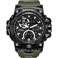 AnazoZ Reloj Impermeable Reloj de Doble Pantalla Reloj Deportivo Reloj Militar Reloj Multifunción Relojes Electronicos Verde