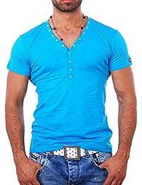Young and Rich - T shirt blanc col v T shirt YR1444 bleu - Bleu