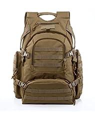 YAKEDA® Alpinismo al aire libre los hombres y las mujeres del bolso del bolso de camuflaje bolsa de hombro de gran capacidad Bolso Mochila táctica impermeable al aire libre Mochilas militares 60L - A88042 (color barro)