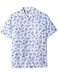 Haggar Men's Short Sleeve Texture Printed Shirts, White/Pineapple, L
