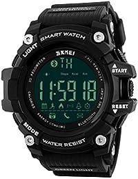 Para hombre Smart reloj digital 5ATM resistente al agua deporte reloj de pulsera llamada SMS notificación LED podómetro SmartWatch