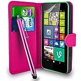 Nokia Lumia 630 - Leder Tasche Flip Case Cover Tasche + Touch Stylus Pen + Screen Protector & Polieren Tuch ( Hot Pink )