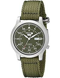 amazon co uk seiko watches seiko 5 men s automatic watch green dial analogue display and green fabric strap snk805k2