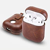 AirPods PU Leather Case Brown Protective Cover Compatible with Apple AirPods 1 [Front LED Not Visible] [Support Wireless Charging] Metal Keychain Holder