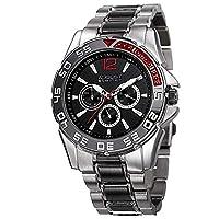 August Steiner Men's AS8077SSB Quartz Multifunction Black Dial Two-tone Bracelet Watch
