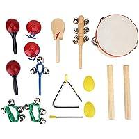 16Pcs Set de Instrument de Percussion pour Enfants Kit Jouet Tambour Musique Cadeaux Educatif Jeux d'Orchestre Rythme avec Sac de Rangement