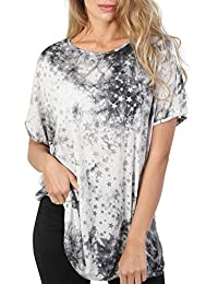 PILOT® Women's Star Print Burnout Oversized Top in Grey