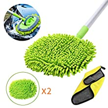 "GES 2 in 1 Chenille Microfiber Car Wash Mop Mitt,Brush for Car Wash with 45"" Long Handle,Microfiber Wash Mitt Car wash Brush Scratch Washing Supplies 180 Degree Rotation for Cleaning RV Cars and Bus"
