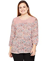 706458c3bf9 oxolloxo Plus Size Women Round Neck Dusty Pink Printed Top 3 4th Sleeves
