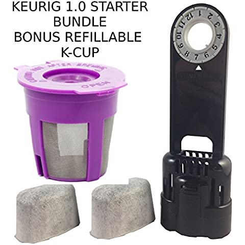 Keurig 1.0 Water Filter Assembly K-Cup Reusable Filter & 2 Replacment water Filter (1) by Freedom Brew 2.0