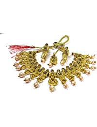 Shree Mauli Creation Golden Alloy Golden Elephant Pearl Drop Necklace Set For Women SMCN1066
