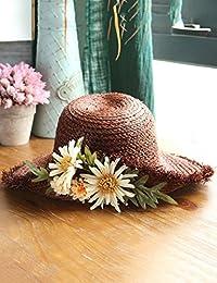 Beach Sun Hat Folding Flowers Big Along The Straw Hat Burr Hat Female Beach Holiday Sun Hat Torn Sun Hat Soft and comfort