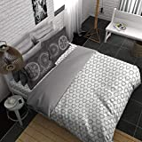 Boutique Living Young @ Heart Me Geos Smooth & Silky Double Bedsheet White & Grey