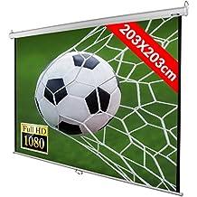 Jago - Pantalla de proyección enrollable - Apta para HDTV - 203 x 203 cm - pantalla diagonal 289 cm / 113,7 pulgada