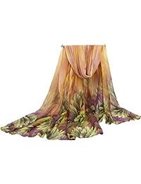 COMVIP Mujeres Gasa floral peso Impreso bufanda caliente abrigo de la playa