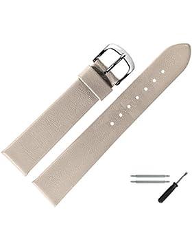 Marburger Uhrenarmband 18mm Leder Beige - Rindsleder - Inkl. Zubehör - Ersatzarmband, Schließe Silber - 6271837500120