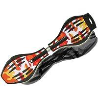 MAXOfit Pro XL - Waveboard con luces en las ruedas y funda (hasta 95 kg, 88 x 23 x 30 cm), multicolor Sunny