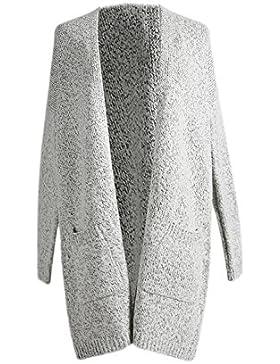 La Mujer Casual Abierto Bolsillo Delantero Plus Tamaño Knit Cardigan Sweater Top