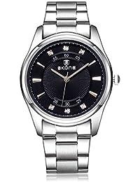 Los hombres del cuarzo de la marca de lujo Skone diamantes de imitación de los relojes de acero completa
