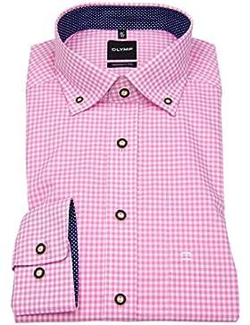 OLYMP Herren Trachtenhemd Modern Fit rosa / weiß kariert 1900 84 81
