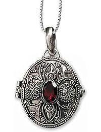 Anhänger Medaillon zum öffnen oval Granatstein 925er Silber Schmuck mit Kette  Halskette Silberkette 118 b7d61fc883