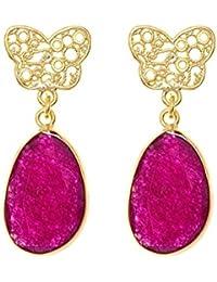 Córdoba Jewels | Pendientes en plata de Ley 925. Diseño Mariposa Filigrana Rubí