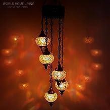 Turque Marocain Style Tiffany Mosaïque De Verre Chandelier 5 Ampoule -OR1 X 5 Chandelier