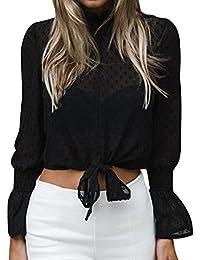 Blusa de Mujer BBestseller Color Sólido de Otoño e Invierno Camisa de Manga Larga de Blusas
