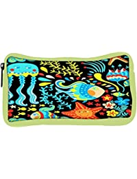 Snoogg Eco Friendly Canvas Cartoon Set With Sea Live Student Pen Pencil Case Coin Purse Pouch Cosmetic Makeup...