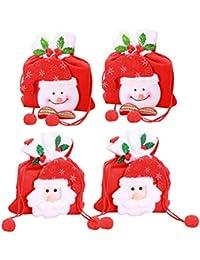 81e26af6e Toyvian Bolsas Papá Noel Muñeco de Nieve Bolsas de Caramelo para Niños  Niñas Decoración para Navidad