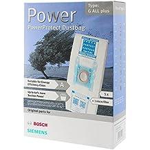Bosch tipo G Genuine PowerProtect gamuza de microfibra bolsas para aspiradora + filtro (Pack de 5)
