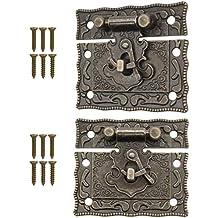 Fuxxer – 2 cierres antiguos, bronce, diseño de hierro, con ganchos, cerradura