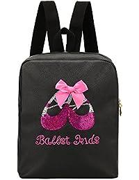 7cba665ae7f VILLAVIVI Bolsos de ballet Deportes Bolsa de danza para Niñas mayores  (Negro con arco rosado