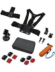 Actioncam Mount Set Sport - 17 pièces Kit de fixation sport pour caméras d'action Rollei et GoPro