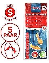 The HEAT company Sohlenwärmer SELBSTKLEBEND 8 Stunden Wärmedauer Wärmesohle Fußwärmer Schuhheizung Fußheizung, SMALL: Grösse 36-40; 5 bis 30 Paar
