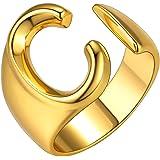 GoldChic Jewelry Anello Aperto Iniziale dalla a alla z di, Anello Aperto Regolabile Lettera Captiale Placcato in Oro 18 Carat