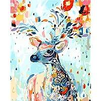 Números Pintura Al Óleo Bricolaje Pintado A Mano Kits Colorido Animal Elk Dibujos Animados Modernos Cuadros
