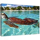 """LeeQueen Las Impresiones Sobre Lona Arte de la Pared - Sea Turtle Bora Polinesia Francesa - Antecedentes Consejo de Madera Estirada Abrigo de la Lona Listo Para Colgar Para el Hogar y la Decoración de la Oficina - 24"""" x 16"""""""