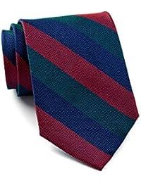Tommy Hilfiger Men Red & Green Group Stripe Silk Tie, OS, Navy