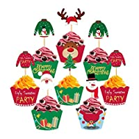 PRETYZOOM 24PCS Christmas Cupcake Toppers and Wrappers Snowman Santa Claus Reindeer Ugly Sweater Decoration Christmas Cake Decoration Christmas Party Supplies Favors