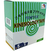 Temtex - Kinesiology tape 5x5 6 uds, talla 5 cm x 5 m, color verde