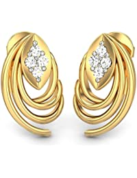 Candere By Kalyan Jewellers Contemporary Collection 14k (585) Yellow Gold and Diamond Stud Earrings