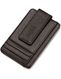 Slim Pocket Wallet With Magic Money Clip & Card Holders, Genuine Leather (Dark Brown W/ Window) By My Dream Place